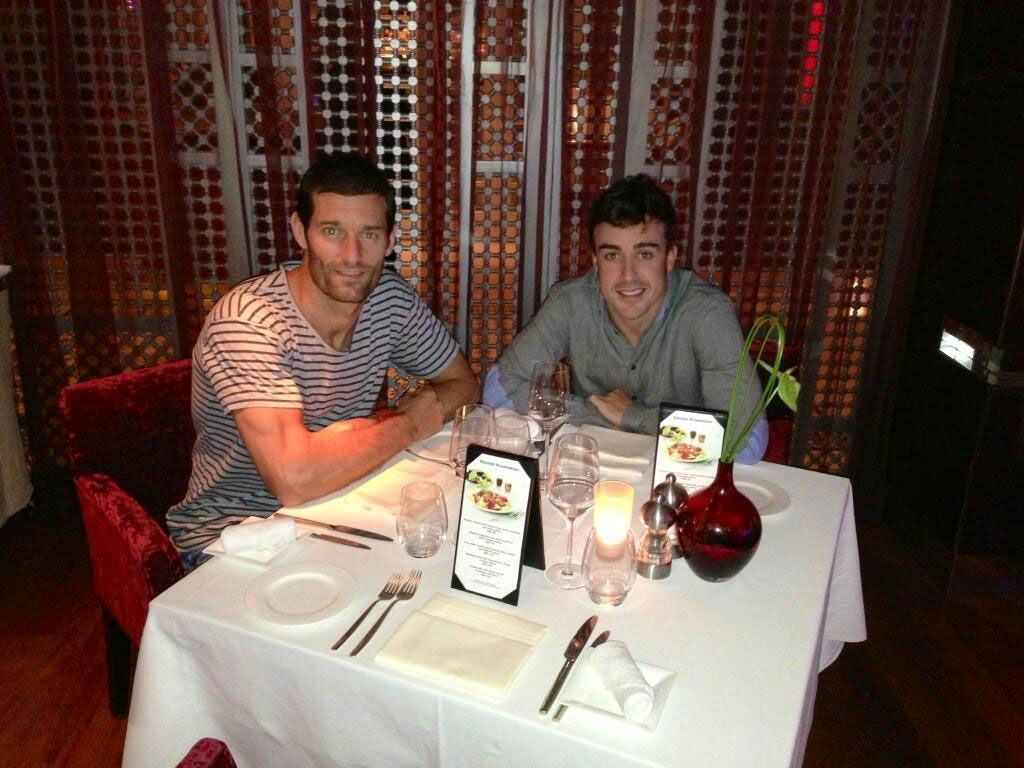 Mark Webber and Fernando Alonso in a dinner at Dubai
