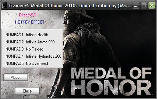 1Medal Of Honor 2010 Trainer