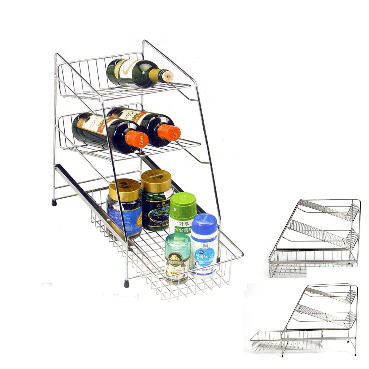 new stainless wine storage shelf sink organizer rack sauce bottle