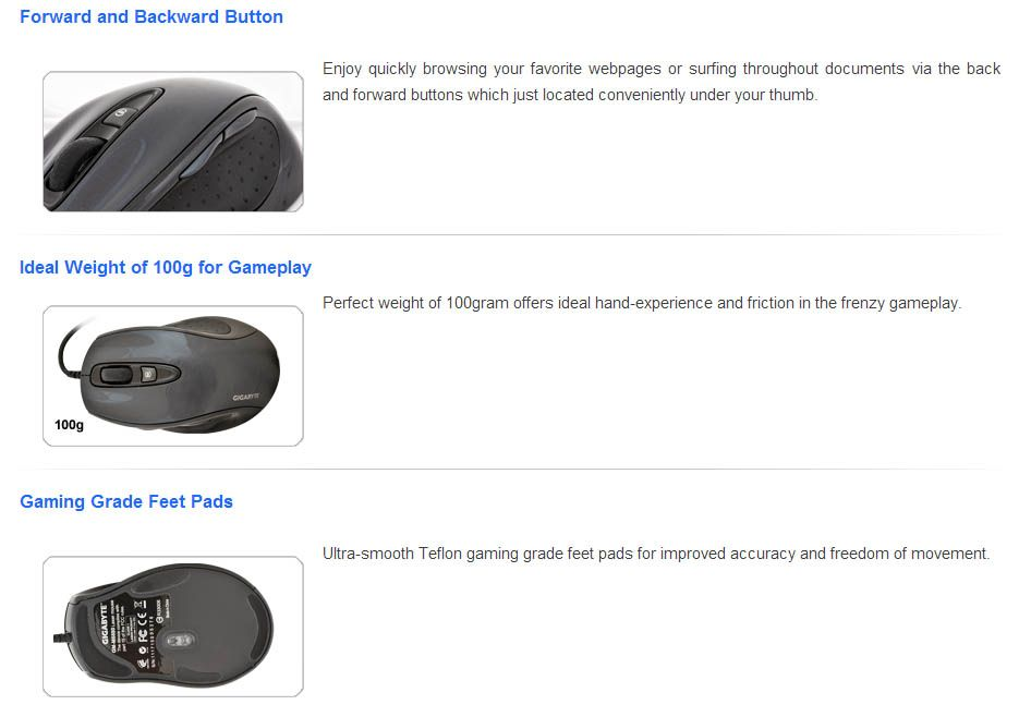 Mouse Gigabyte Laser Gaming - 1600dpi  - Super con