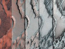 The High Resolution Imaging<br /> Science Experiment (HiRISE)<br /> camera on NASA&#39;s Mars<br /> Reconnaissance Orbiter snapped<br /> this series of false-color<br /> pictures of sand dunes in the<br /> north polar region of Mars.<br /> Image credit: NASA/JPL-Caltech/<br /> Univ. of Arizona&nbsp;&nbsp; <br /> <a href='http://www.nasa.gov/mission_pages/msl/multimedia/pia16712.html' class='bbc_url' title='External link' rel='nofollow external'>� Full image and caption</a>