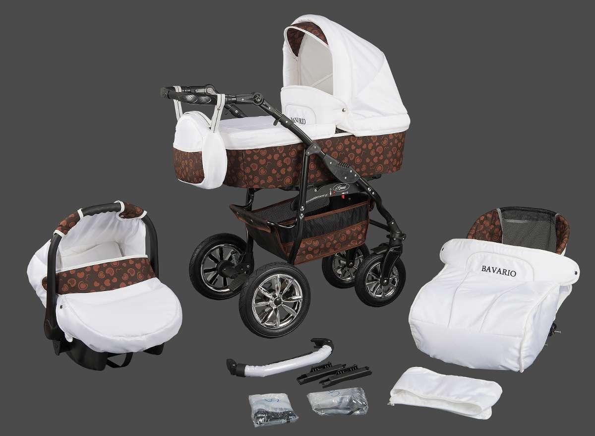 bavario kombikinderwagen kinderwagen set mit babyschale 3in1 braun ebay. Black Bedroom Furniture Sets. Home Design Ideas