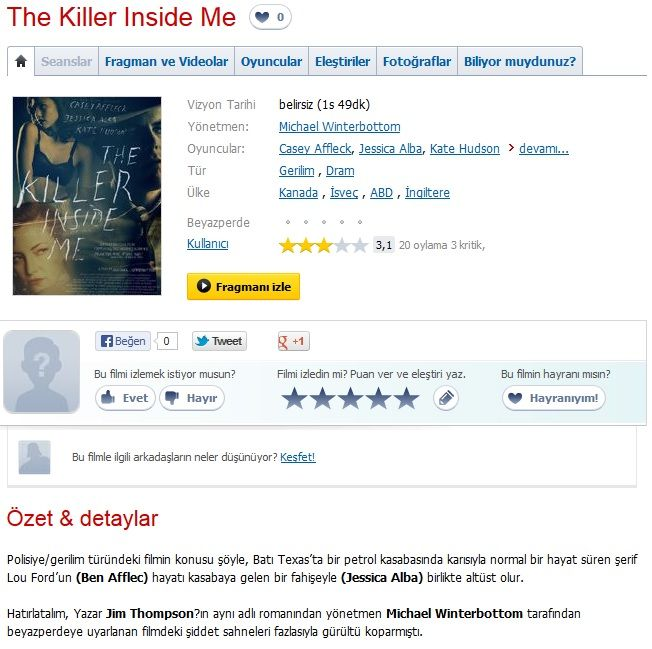 İçimdeki Katil (The Killer Inside Me) - 2010 Dual 480p BRRip Tek Link indir